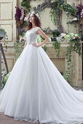 Elegant Illusion Lace Beadss Wedding Dress Cap Sleeve Zipper_3