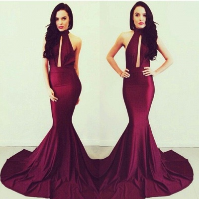Elegant Red Mermaid Evening Gowns with Wine Halter Sleeveless Satin Court Train Prom Gowns_2