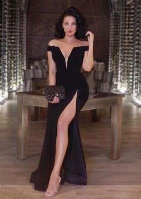 Newest V-neck Front-Split Off-the-shoulder Mermaid Black Prom Dress UK SP0222_3