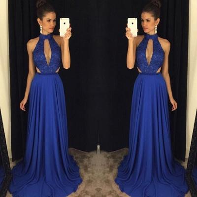 Newest High Neck Royal Blue Prom Dress UK Lace A-line AP0_2