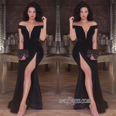 Newest V-neck Front-Split Off-the-shoulder Mermaid Black Prom Dress UK SP0222_1