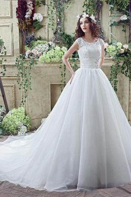 Elegant Illusion Lace Beadss Wedding Dress Cap Sleeve Zipper_7