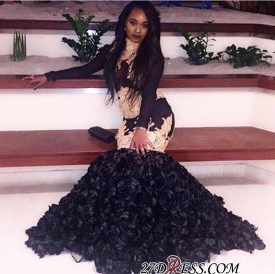 Black long-sleeve prom Dress UK,evenng Dress UK with bottom flowers BK0_1