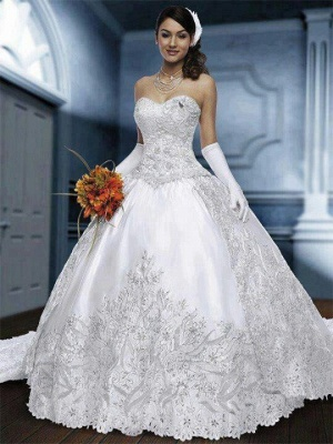 Sweetheart Pretty Bridal Gowns Wedding Dresses UK Very on Sale Appliques Lace Princess Free Shipping_1