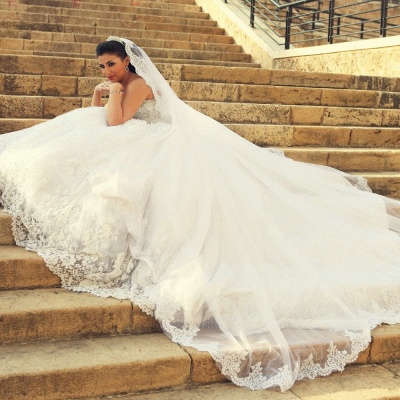 Delicate Sweetheart Lace Tulle Wedding Dress Ball Gown Beadss_3