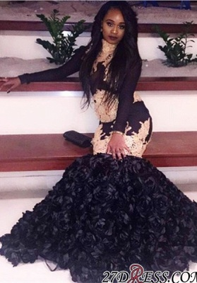 Black long-sleeve prom Dress UK,evenng Dress UK with bottom flowers BK0_2