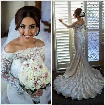 Off-the-shoulder Long Sleeve Sexy Mermaid Wedding Dress With Lace Beadss_1