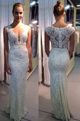 Elegant Lace Sleeveless Wedding Dress Zipper Back Floor Length_1