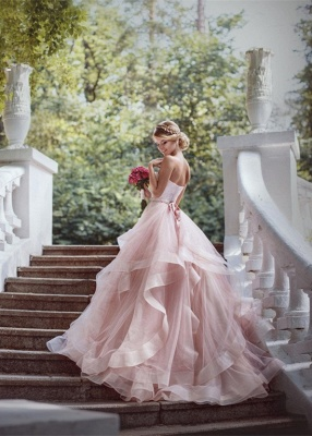 Luxurious Sweetheart Pink Wedding Dress Tulle Ruffles_1