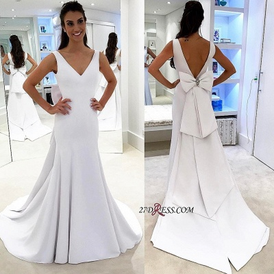 White wedding dress with bowknot, bridal gowns_2
