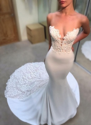 Simple Appliques Sexy Mermaid Wedding Dresses UK Sleeveless Long Court Train Bridal Gowns_1