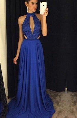 Newest High Neck Royal Blue Prom Dress UK Lace A-line AP0_1