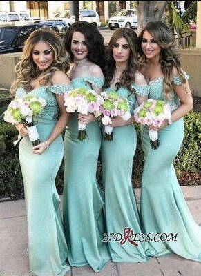 Long Mermaid Mint Lace Off-the-Shoulder Bridesmaid Dress UK_3