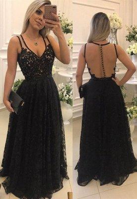 Sexy V-Neck Sleeveless Evening Dress UK   2019 Lace Long Formal Dress UKes UK_1