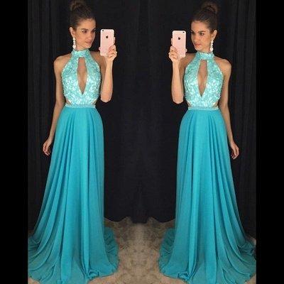 Newest High Neck Royal Blue Prom Dress UK Lace A-line AP0_3