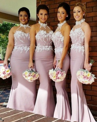Newest Halter Sleeveless Mermaid Bridesmaid Dress UK Lace Appliques_2