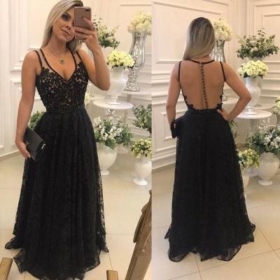 Sexy V-Neck Sleeveless Evening Dress UK   2019 Lace Long Formal Dress UKes UK_4