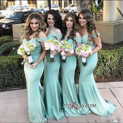 Long Mermaid Mint Lace Off-the-Shoulder Bridesmaid Dress UK_2