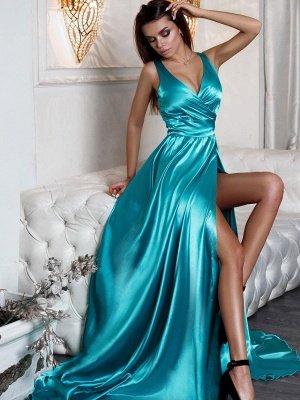 V-Neck Sleeveless Prom Dress UK | Evening Dress UK With Slit_5
