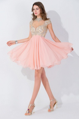 Modern High Neck Cap Sleeve Chiffon Homecoming Dress UK With Appliques Beadings_1