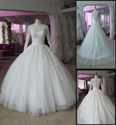 Elegant Lace Appliques Ball Gown Wedding Dress Long Sleeve_4