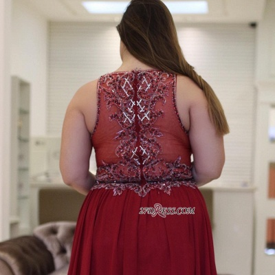 Burgundy chiffon prom Dress UK, plus size evening Dress UK_2