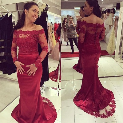 Luxury Long Sleeve Lace Appliques Evening Dress UK Long Mermaid Zipper Button Back_3