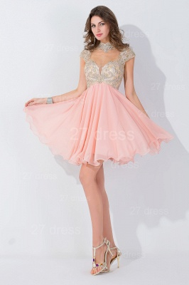Modern High Neck Cap Sleeve Chiffon Homecoming Dress UK With Appliques Beadings_2