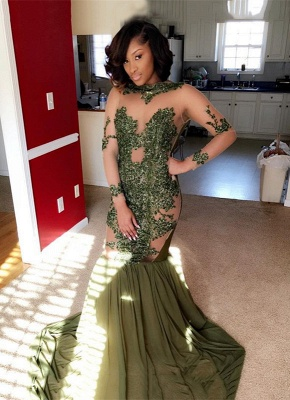 Long-Sleeve Lace Evening Gowns | Mermaid Prom Dress UK Online BA8827_1
