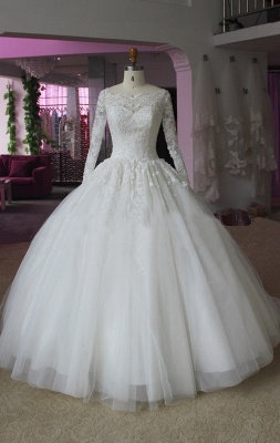 Elegant Lace Appliques Ball Gown Wedding Dress Long Sleeve_1