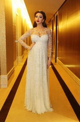 Gorgeous Beadings Appliques A-line Evening Dress UK Long Sleeve_1