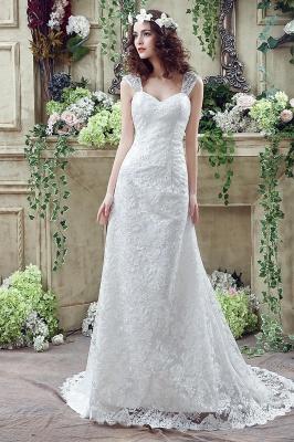 Elegant Lace Sweetheart A-line Wedding Dress Sweep Train Lace-up_1