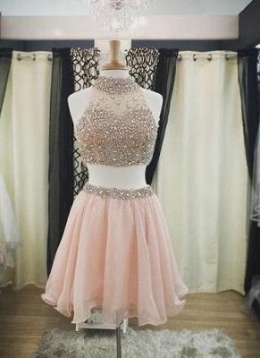 Luxury Pink Halter-Neck Two-Piece Blush Crystals Short Homecoming Dress UKes UK_3