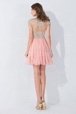 Modern High Neck Cap Sleeve Chiffon Homecoming Dress UK With Appliques Beadings_4
