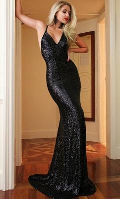 Elegant Black Sequins Prom Dress UK Mermaid Backless CE0215_1