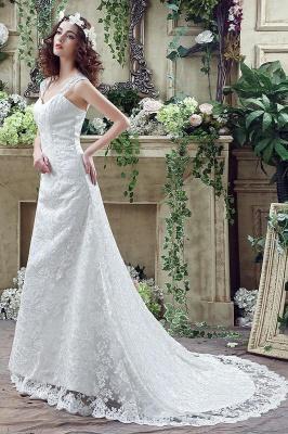 Elegant Lace Sweetheart A-line Wedding Dress Sweep Train Lace-up_7