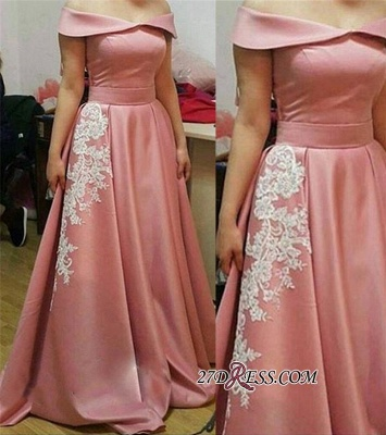 Off-the-Shoulder Gorgeous Appliques A-Line Pink Prom Dress UK_2