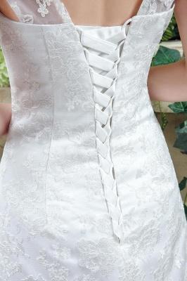 Elegant Lace Sweetheart A-line Wedding Dress Sweep Train Lace-up_5