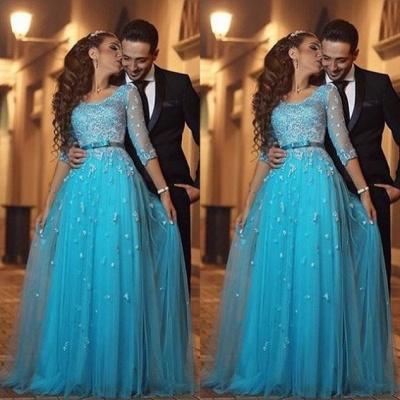 Beautiful Half-Sleeve Tulle Evening Dress UK Lace Appliques_3