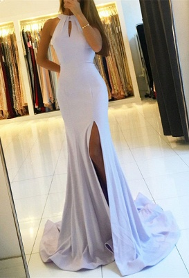 Halter Backless Evening Dress UK | Backless Prom Dress UK With Slit BA7367_1