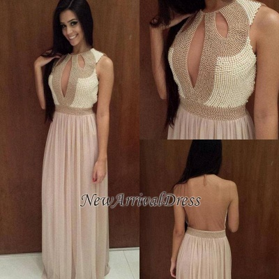 Scoop Pearls Sexy Floor-length A-line Backless Evening Dress UK_1