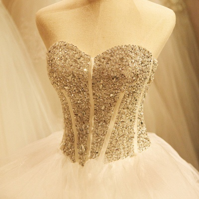 Newest Crystals Ruffles Wedding Dress Sweetheart Sleeveless Lace-up_4