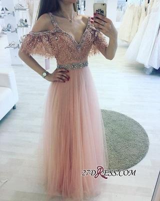 Lace Floor-length Charming Beading V-neck Pink A-line Evening Dress UK_2