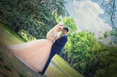 Romantic Long Sleeve Tulle Lace Arabian Wedding Dress Sweep Train_2
