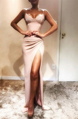 Elegant Spaghetti Strap High Split Evening Gown | Sexy Evening Dress UK BA9609_1
