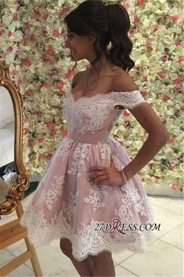 Pink Off-the-Shoulder A-Line Appliques Mini Homecoming Dress UK qq0312_1