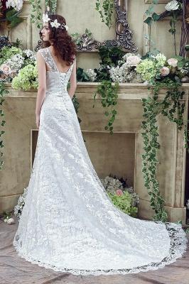 Elegant Lace Sweetheart A-line Wedding Dress Sweep Train Lace-up_4