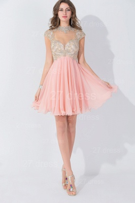 Modern High Neck Cap Sleeve Chiffon Homecoming Dress UK With Appliques Beadings_5