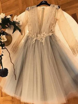 Chic A-Line Tulle Homecoming Dress UKes UK   V-Neck Long Sleeves Lace Applique Cocktail Dress UKes UK_1