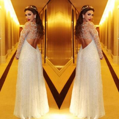 Gorgeous Beadings Appliques A-line Evening Dress UK Long Sleeve_5